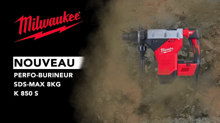 Article Zone Outillage - K850S : le perforateur-burineur SDS-MAX filaire Milwaukee le plus rapide de