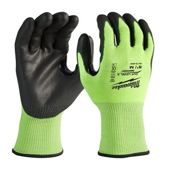 Hi-vis cut level 3/C dipped gloves