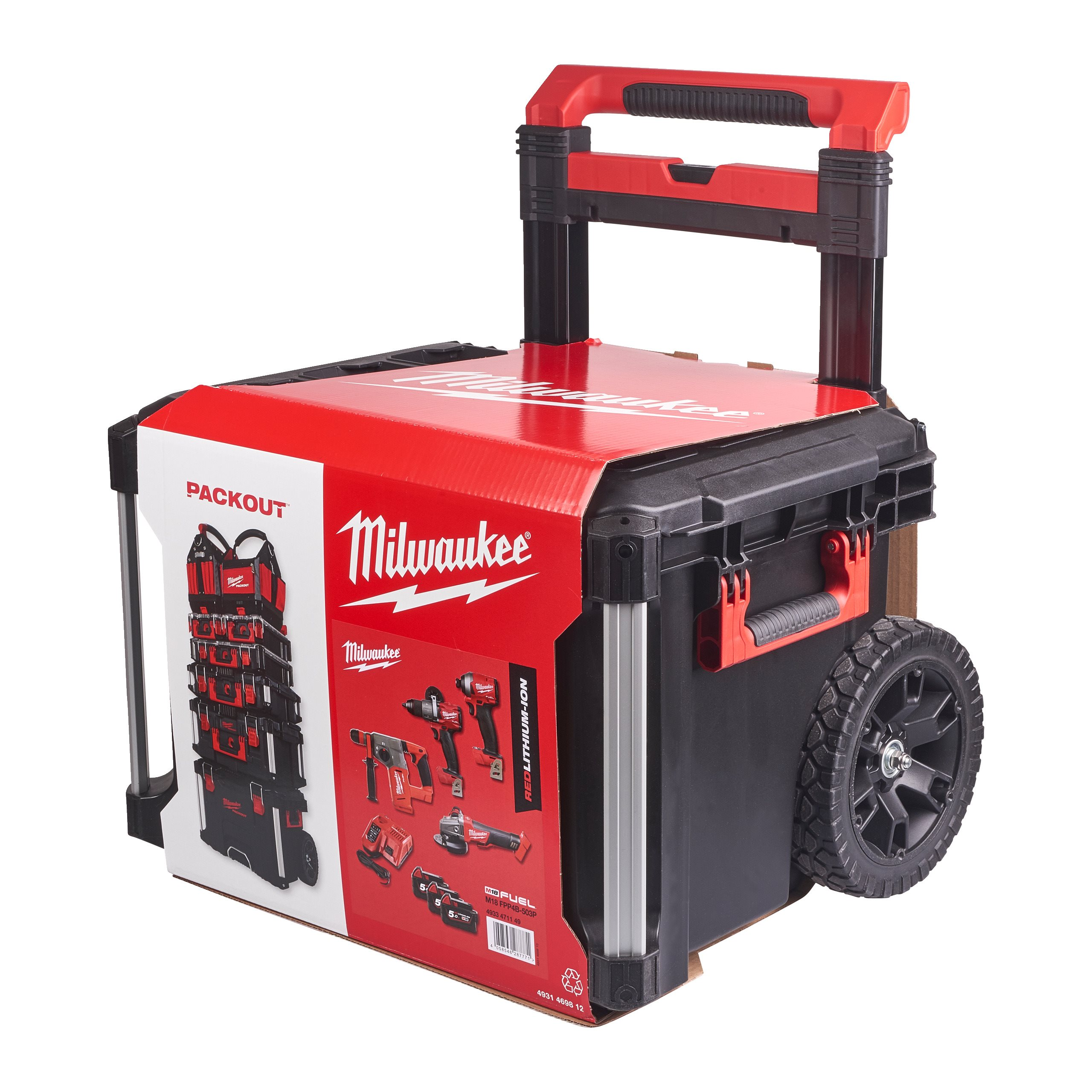 Out Trolley M18 Fpp4b-503p Red /& Black Milwaukee 4933471149 Set of 4 Fuel 18 V
